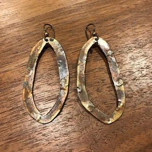 Hammered copper statement drop earrings